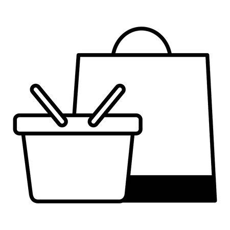 online shopping ecommerce basket and bag vector illustration