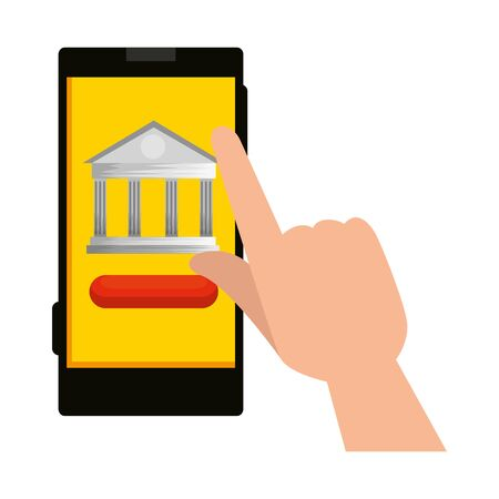 hand using smartphone with bank building app vector illustration design
