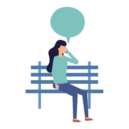 woman using smartphone sitting bench park talking bubble vector illustration