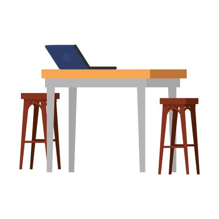 wooden benchs with table and laptop vector illustration design Foto de archivo - 129640208