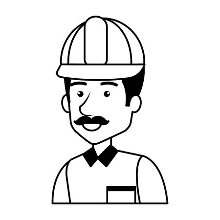 builder constructor with helmet character vector illustration design