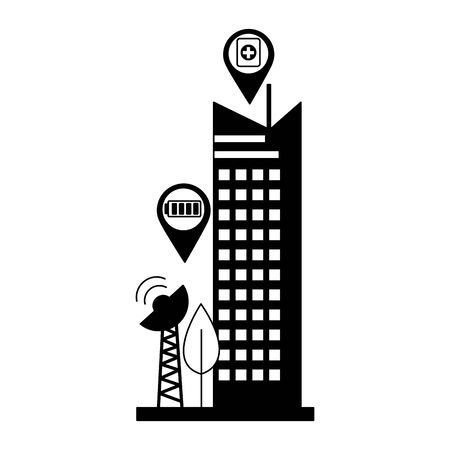 smart city antenna signal connection vector illustration