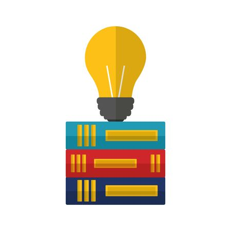 business books stacked bulb idea vector illustration