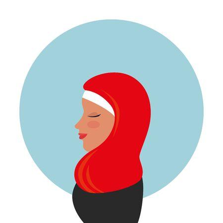 profile of islamic woman with traditional burka vector illustration design Stock Illustratie