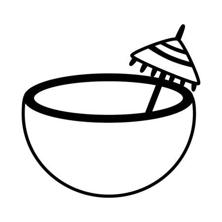 coconut cocktail umbrella on white background vector illustration