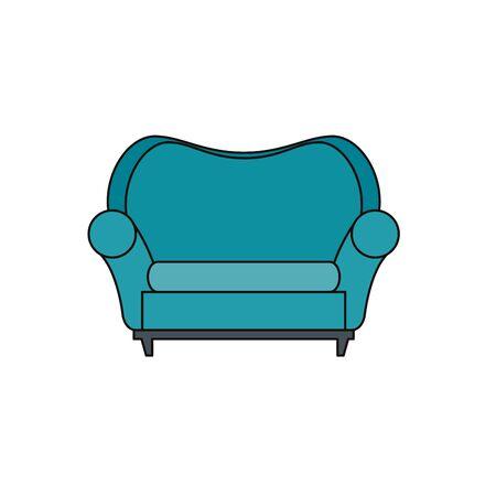 Confortevole divano soggiorno icona attrezzature illustrazione vettoriale design