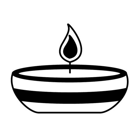 candle fire in ceramic dish vector illustration design