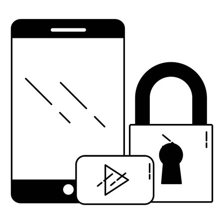 smartphone video player security wifi internet connection vector illustration