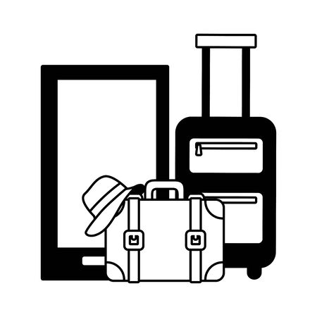 vacations smartphone bag suitcase and hat vector illustration 向量圖像