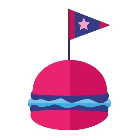 burger and flag american independence day vector illustration