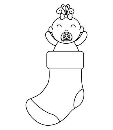 cute little baby girl in sock vector illustration design