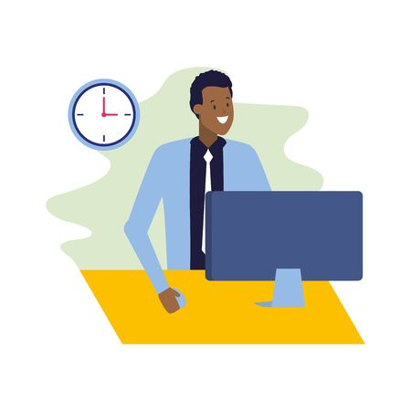 businessman working with laptop business vector illustration