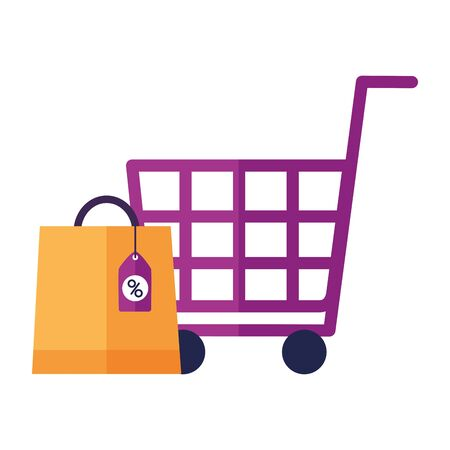online shopping cart bag sale ecommerce vector illustration