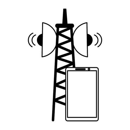 smartphone device antenna signal on white background vector illustration 向量圖像