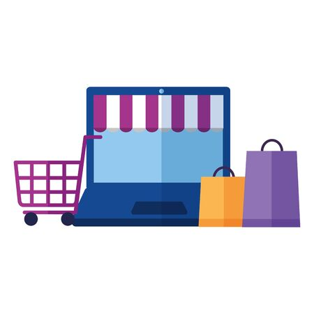 online shopping ecommerce laptop cart and bags vector illustration