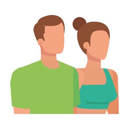 young lovers couple avatars characters vector illustration design Ilustração