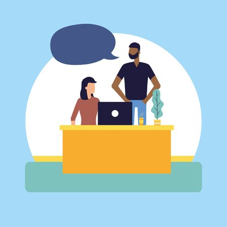 man and woman working office talking bubble vector illustration Иллюстрация