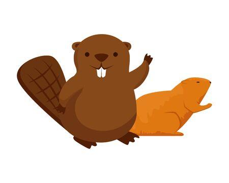 cute beaver and otter mascots vector illustration design Illustration