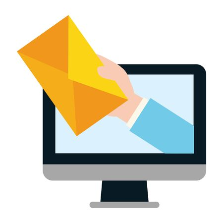 hand with envelope computer send email vector illustration Stok Fotoğraf - 129640759