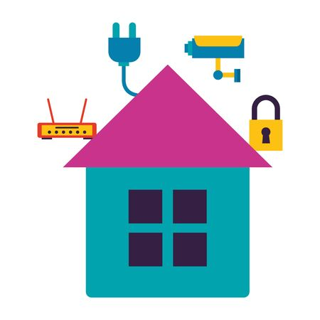 smart home security router wifi internet connection vector illustration Foto de archivo - 129663316