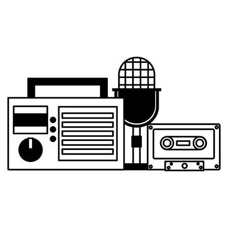 radio microphone cassette instrument and equipment festival music vector illustration