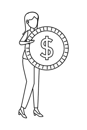 young woman lifting coin money dollar vector illustration design  イラスト・ベクター素材