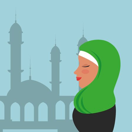 profile of islamic woman with traditional burka in mosque vector illustration design Banque d'images - 129663888