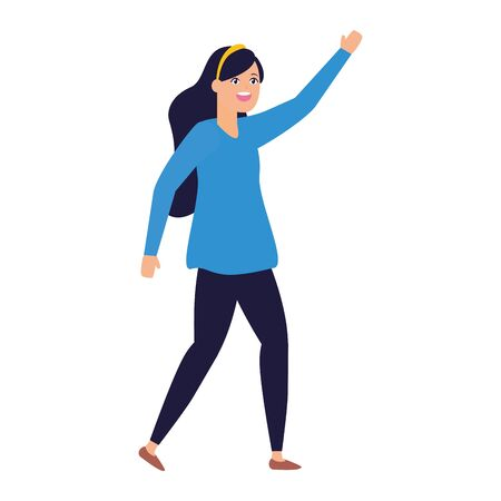 celebrating woman with arms up vector illustration Stok Fotoğraf - 129665160