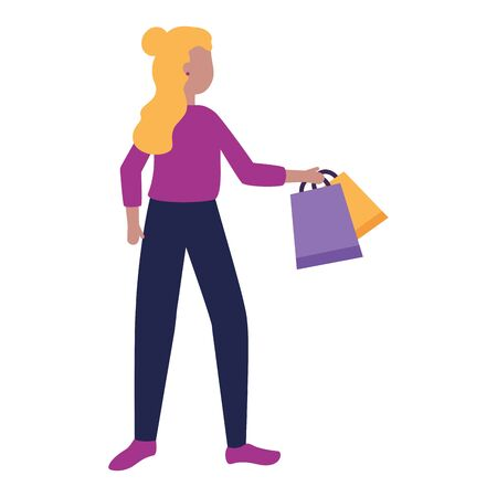 woman with shopping bags market vector illustration Stock Vector - 129665173
