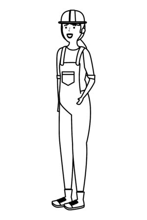 young female mechanic worker character vector illustration design