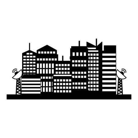 smart city buldings antenna communication technology vector illustration Ilustração