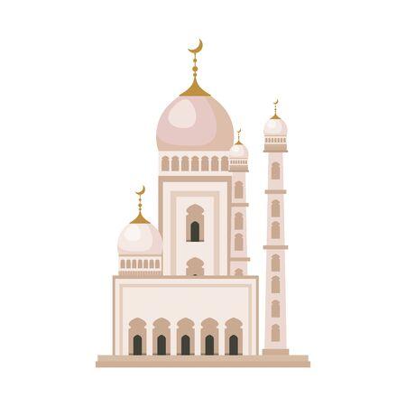 taj mahal mosque building icon vector illustration design