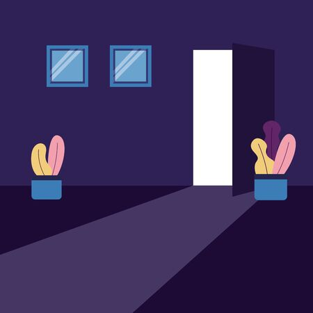 dark room door window plants vector illustration Stock Vector - 129506530