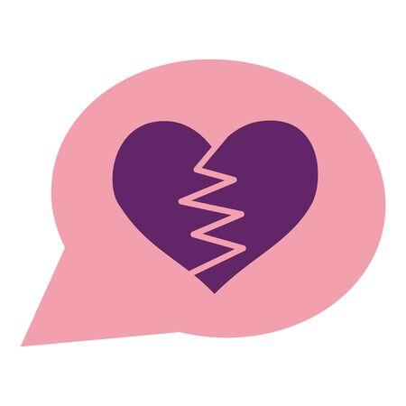 heart broken romance talk bubble vector illustration