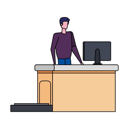 man working in airport with computer vector illustration design  イラスト・ベクター素材