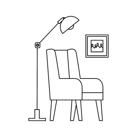 home living room place scene vector illustration design Banque d'images - 129506643