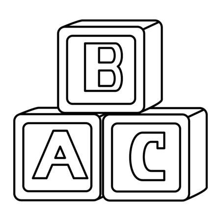 alphabet blocks toys baby icons vector illustration design Çizim
