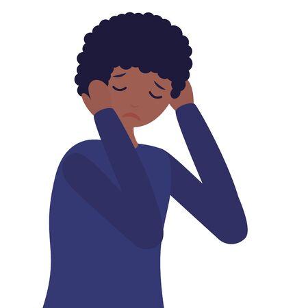 boy with sadness mental depressed vector illustration Illustration