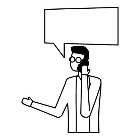 man using smartphone device talk bubble vector illustration