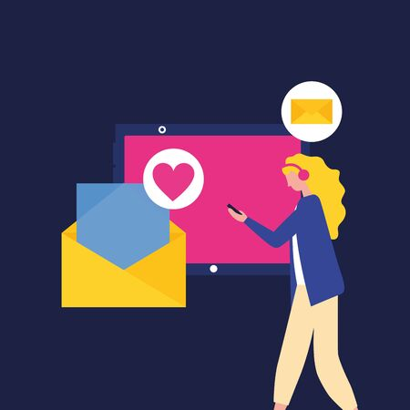 Social media and multimedia icon set, Apps communication and digital marketing theme Colorful design Vector illustration Ilustracja