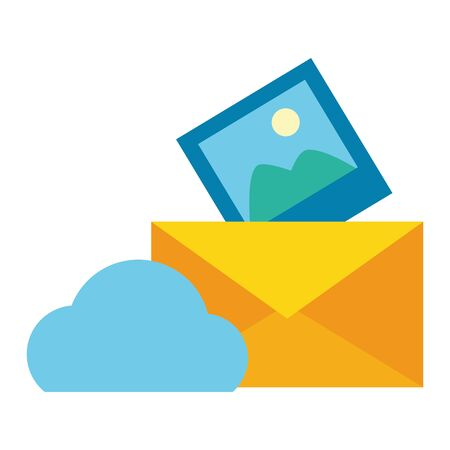 cloud computing send email picture vector illustration