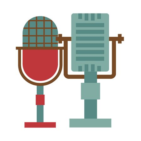 retro vintage microphone festival music poster vector illustration