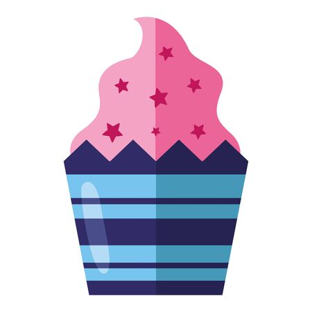 sweet cupcake snack on white background vector illustration