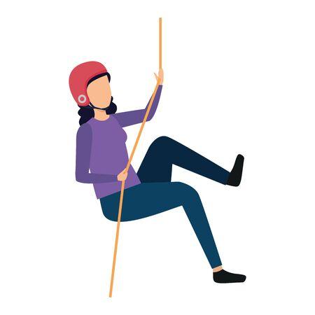 femme, escalade, à, corde, caractère, vecteur, illustration, conception