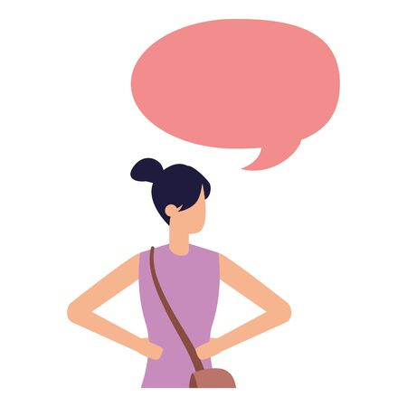woman with bag waving hand talk bubble vector illustration