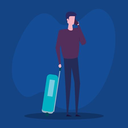 man with smartphone and baggage with casual clothes to blue background, vector illustration Stock Illustratie