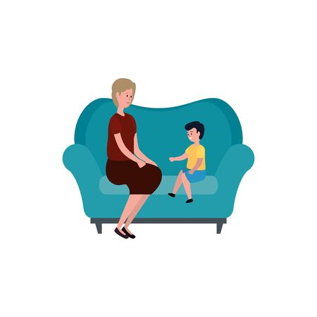 cute grandmother with grandson in the sofa vector illustration design