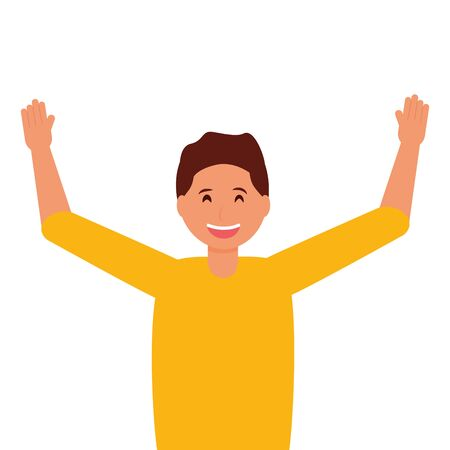 happy young man character on white background vector illustration Çizim