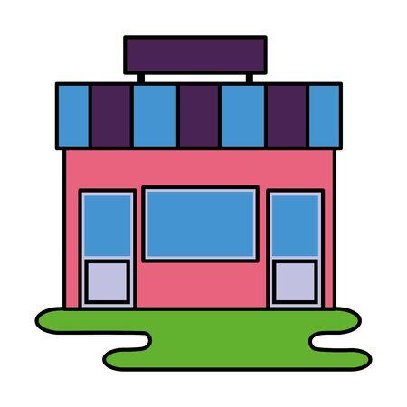 Ilustración de vector de ciudad de fachada de comercio de tienda de mercado Ilustración de vector