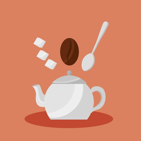 Coffee pot design, Drink breakfast beverage bakery restaurant and shop theme Vector illustration Illusztráció